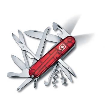 Нож Victorinox 1.7915.T Huntsman Lite, 91мм, прозрачный красный с фонариком
