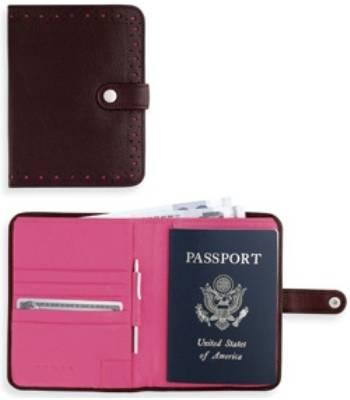 Портмоне/футляр для паспорта Cross AC209-9A с ручкой,женск (коричн-розов натур кожа)12х14х1,5