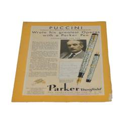 """Статья """"PUCCINI. Wrote his greatest Operas with a Parker Pen"""",из журнала за 1931г,23,5х17,5см,арт. 7"""