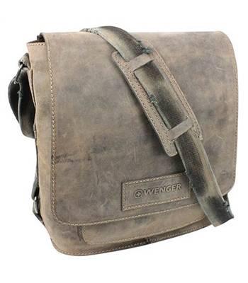 """Кожаная сумка наплечная Wenger W16-03 """"STONEHIDE"""", коричневый, кожа, 35х13x36 см"""
