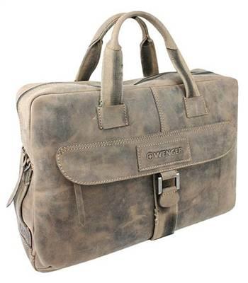 """Кожаный портфель на молнии Wenger W16-07 """"STONEHIDE"""", коричневый 55х11x40 см"""