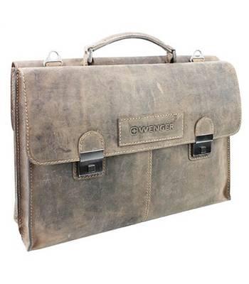 """Кожаный портфель двухсторонний Wenger W16-10 """"STONEHIDE"""", коричневый 40x11x31 см"""