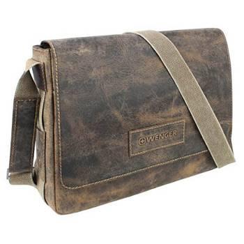"""Кожаная сумка наплечная Wenger W23-01Br """"ARIZONA"""", коричневый, 37х10x29 см"""
