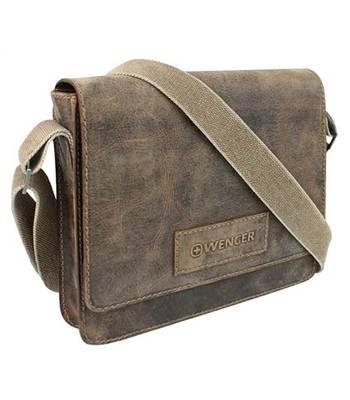 "яКожаная сумка наплечная Wenger W23-02Br ""ARIZONA"", коричневый, 30х7x25 см"