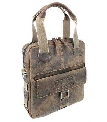 """Кожаная сумка вертикальная Wenger W23-04Br """"ARIZONA"""", коричневый, 35x9x37  см"""