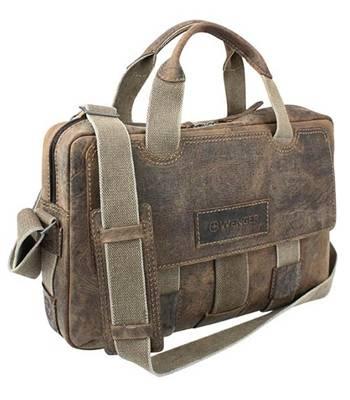 """яКожаный портфель на молнии Wenger W23-06Br """"ARIZONA"""", коричневый, 44x10x33 см"""