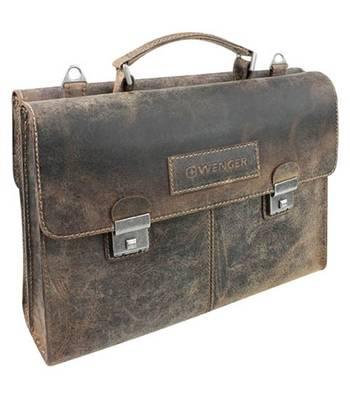 "яКожаный портфель двусторонний Wenger W23-07Br ""ARIZONA"", коричневый, 40x11x31 см"