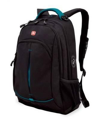 Рюкзак Wenger 3165206408-2 черный/бирюзовый со светоотраж вставками 32x15x46 см, 22 л