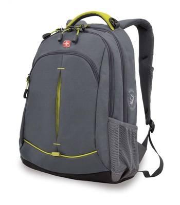 Рюкзак Wenger 3165426408-2 серый/лайм 32x15x46 см, 22 л со светоотражающ элементами