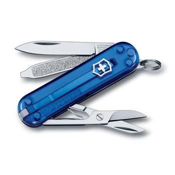 Нож-брелок Victorinox 0.6223.T2 Classic CD, 58мм, полупрозрачный синий