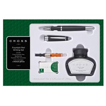 Набор Cross Bailey AT0456H-11MS/4 перьевая ручка, конвертер, 3 картриджа, флакон с черными чернилами