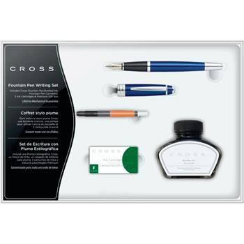 Набор Cross Bailey AT0456H-12MS/1 перьевая ручка, конвертер, 3 картриджа, флакон с черными чернилами