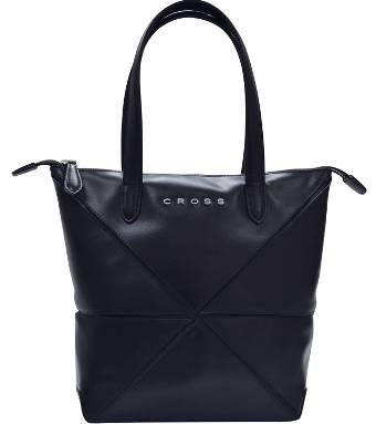 Женская сумка Cross Origami AC751301-1 кожа наппа гладкая+ткань, цвет чёрный, 31х26,3х10см