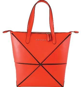 Женская сумка Cross Origami AC751301-3 кожа наппа гладкая+ткань, цвет красный, 31х26,3х10см