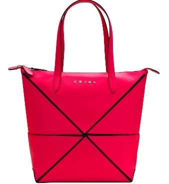 Женская сумка Cross Origami AC751302-5 кожа наппа гладкая+ткань, цвет розовый, 38 х 32 х 13  см