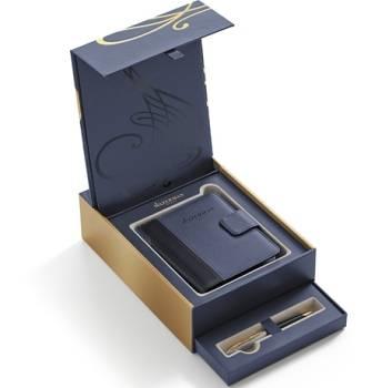 Набор подарочный Waterman 1978717 Шариковая ручка Carene De Luxe Black Gold GT+блокнот