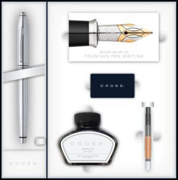 Набор Cross Townsend 536-MS/2 перьевая ручка, конвертер, 3картриджа, флакон с чернилами.
