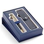 Набор подарочный Waterman 2019744 Шариковая ручка Carene De Luxe Black Silver GT+ чехол