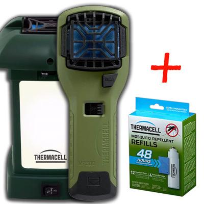 я НАБОР: отпугиватель комаров ThermaCELL (оливков.) MR 300G, лампа Outdoor и запаска на 48 ч)