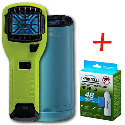 НАБОР: отпугиватель комаров ThermaCELL (лайм) MR 300V, настольн. отпугив. голубой и запаска на 48 ч)