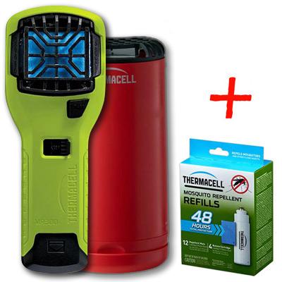 НАБОР: отпугиватель комаров ThermaCELL (лайм) MR 300V, настольн. отпугив. красный и запаска на 48 ч)