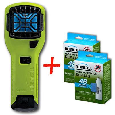 НАБОР: отпугиватель комаров ThermaCELL (лайм) MR 300V и  две запаски MR 400-12 (каждая по 48 ч)