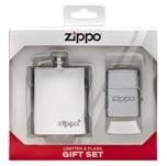 Подарочный набор 49098 зажигалка Brushed Chrome® и фляжка 89 мл  ZIPPO