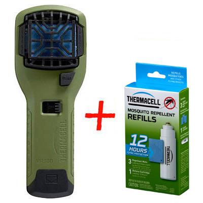 Набор: отпугиватель комаров ThermaCELL (оливковый) MR-300 Repeller Olive + запаска на 12ч