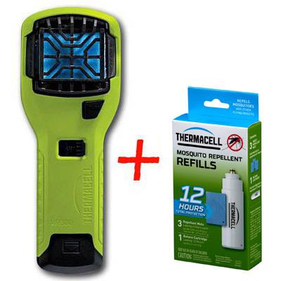 Набор: отпугиватель комаров ThermaCELL (лайм) MR-300 High Visibility Green Repeller + запаска на 12ч