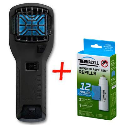 Набор: отпугиватель комаров ThermaCELL (чёрный) MR-300 Repeller Black + запаска на 12ч