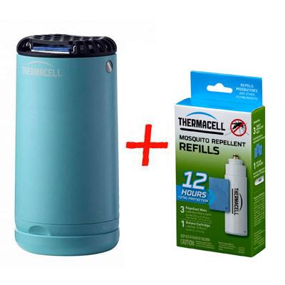 Набор: отпугиватель комаров ThermaCELL Halo Mini Repeller Blue + запаска на 12ч